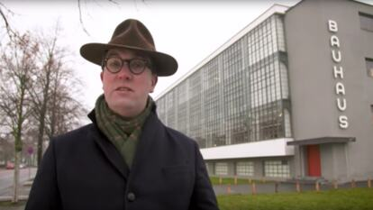 Gavin Plumley stands in front of the Bauhaus in Dessau, Germany