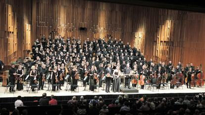 Orchestra on stage at Royal Festival Hall