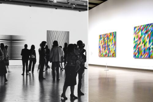 Bridget Riley at Hayward Gallery in 1971 and in 2020