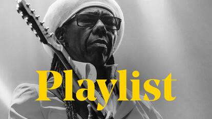 Nile Rodgers holds his guitar behind the word 'Playlist'