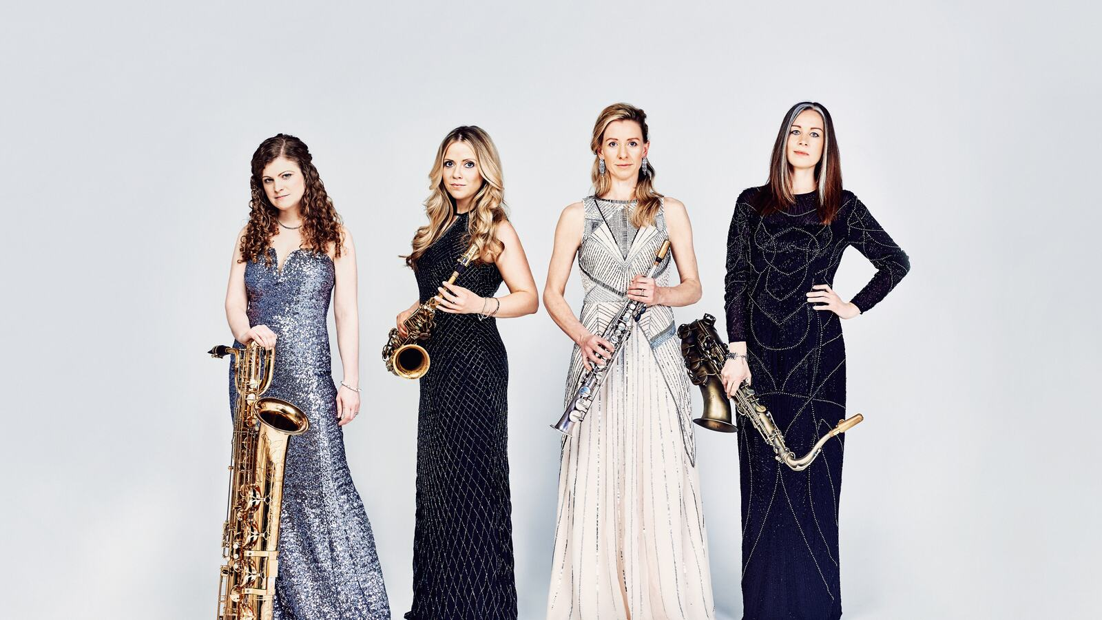 Photograph of the members of sax quartet Marici Saxes, who perform at Southbank Centre