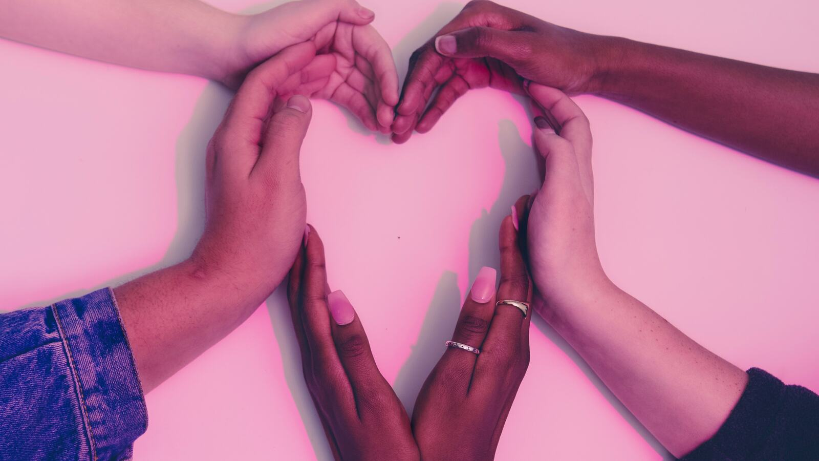 Hands used to create heart shape