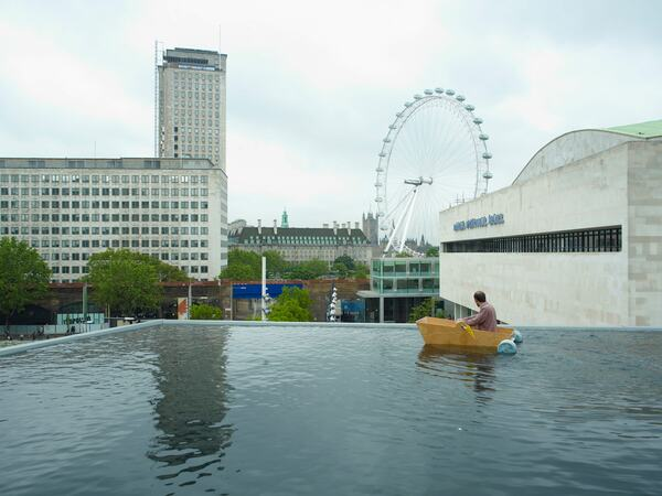 View of London Eye and Royal Festival Hall from Rowing Boat Lake by Gelitin at Hayward Gallery