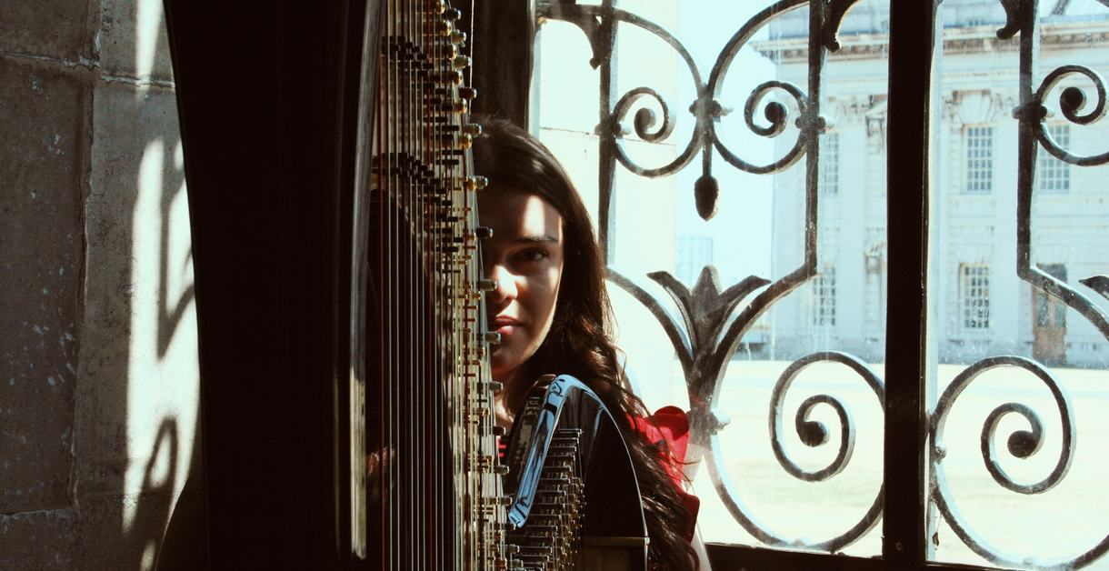 A woman with a harp
