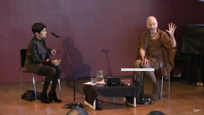 Still from video of Vivienne Westwood in conversation with Shami Chakrabarti at WOW 2014, Southbank Centre