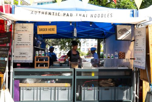 Southbank Centre Food Market.Stall 28 - Pad Sen.August 2016