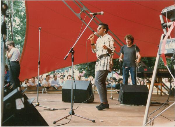 Hope Augustus appears on stage at Pride '87 Carnival in London's Jubilee Gardens