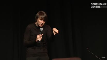 Still from video of Aleks Krotoski's talk at Yoko Ono's Meltdown, Southbank Centre, 2013