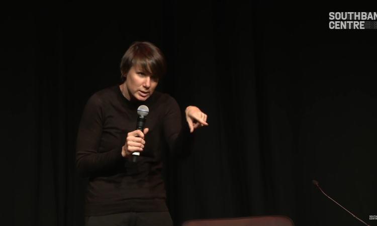 Still from video of Aleks Krotoski's talk at Yoko Ono's Meltdown, Southbank Centre, 2013