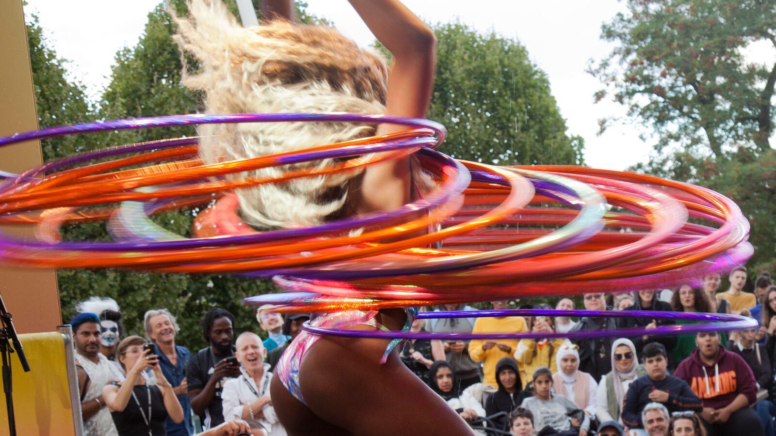 Hula hoop performance on stage