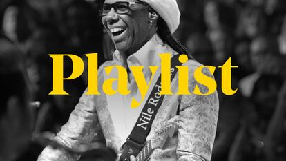 Nile Rodgers playlist graphic featuring an image of the artist and the word playlist