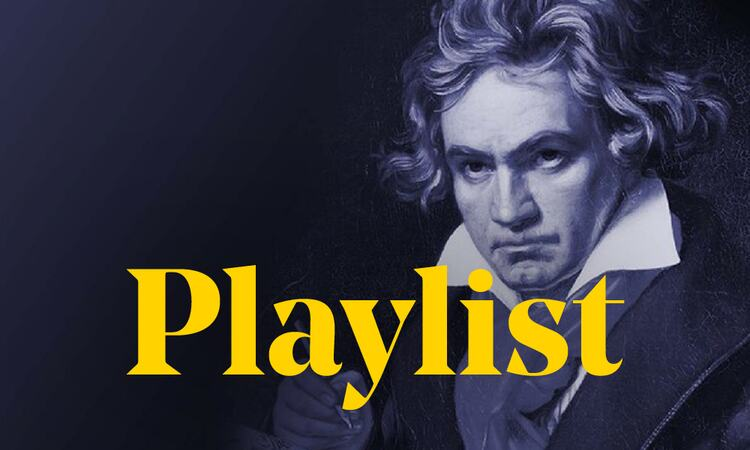 Depiction of Ludwig van Beethoven, behind the word 'Playlist'