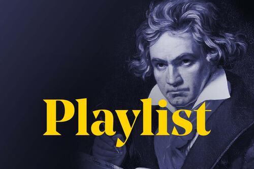 Depiction of Ludwig van Beethoven, behind the word 'Playlist'