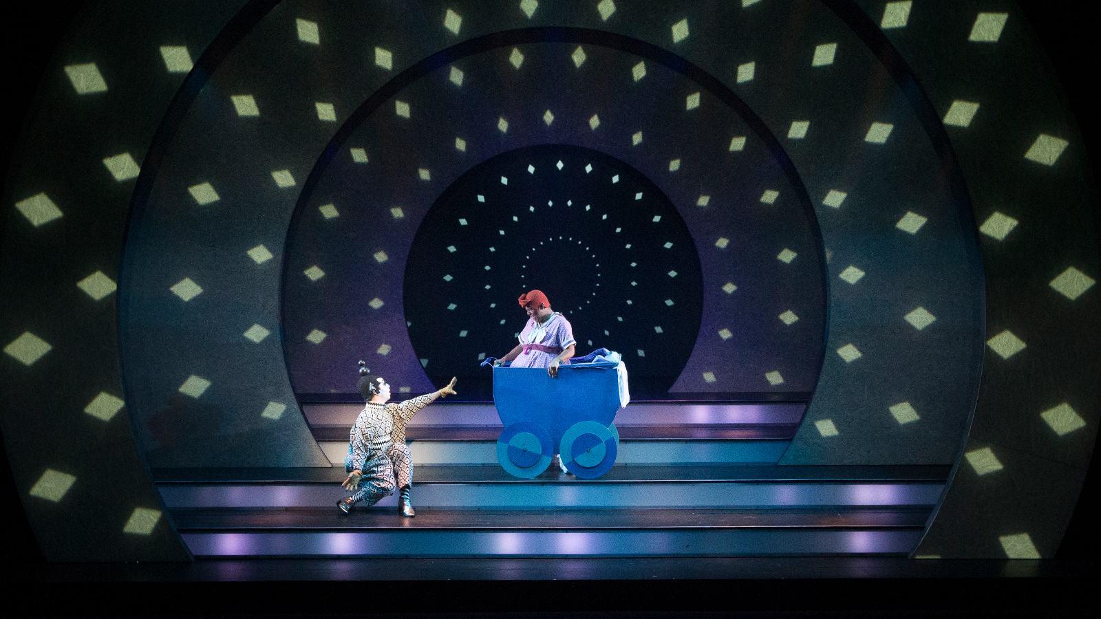 Rumpelstiltskin performing on stage