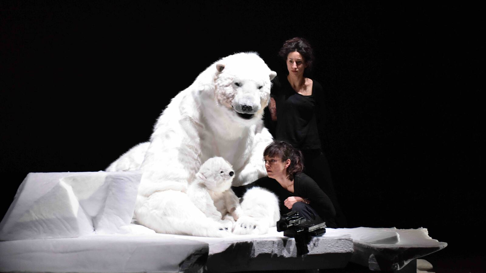 A scene from BACKUP, two women with polar bears