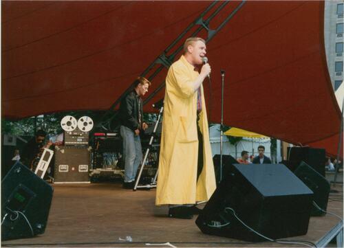 Steve Bronski of Bronski Beat performs at Pride '87 Carnival at Jubilee Gardens, South Bank, London