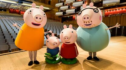 The characters from Peppa Pig on the Royal Festival Hall stage