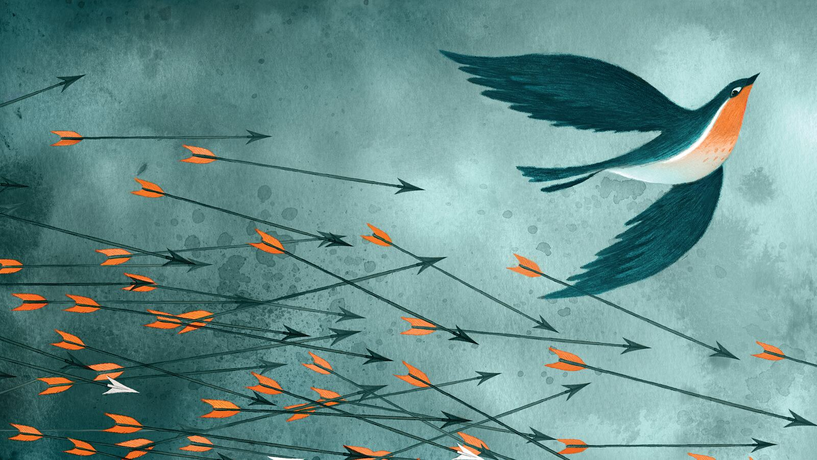 Illustration of a bird escaping arrows in the sky