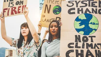 Activists at a climate change protest