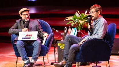 Adam Buxton and Louis Theroux in conversation on stage at Southbank Centre's Royal Festival Hall