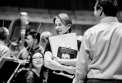 Esa-Pekka Salonen at a rehearsal