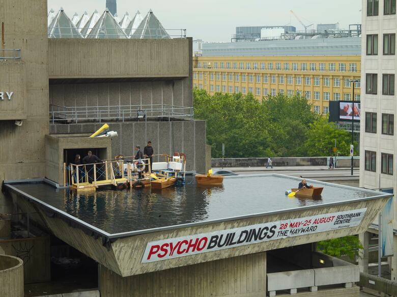 Pool with Rowing Boats by Gelitin on top of the Hayward Gallery