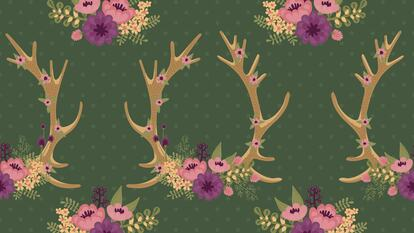 Illustration with flowers and antlers