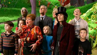 Johnny Depp and other cast members in a still from Charlie and the Chocolate Factory