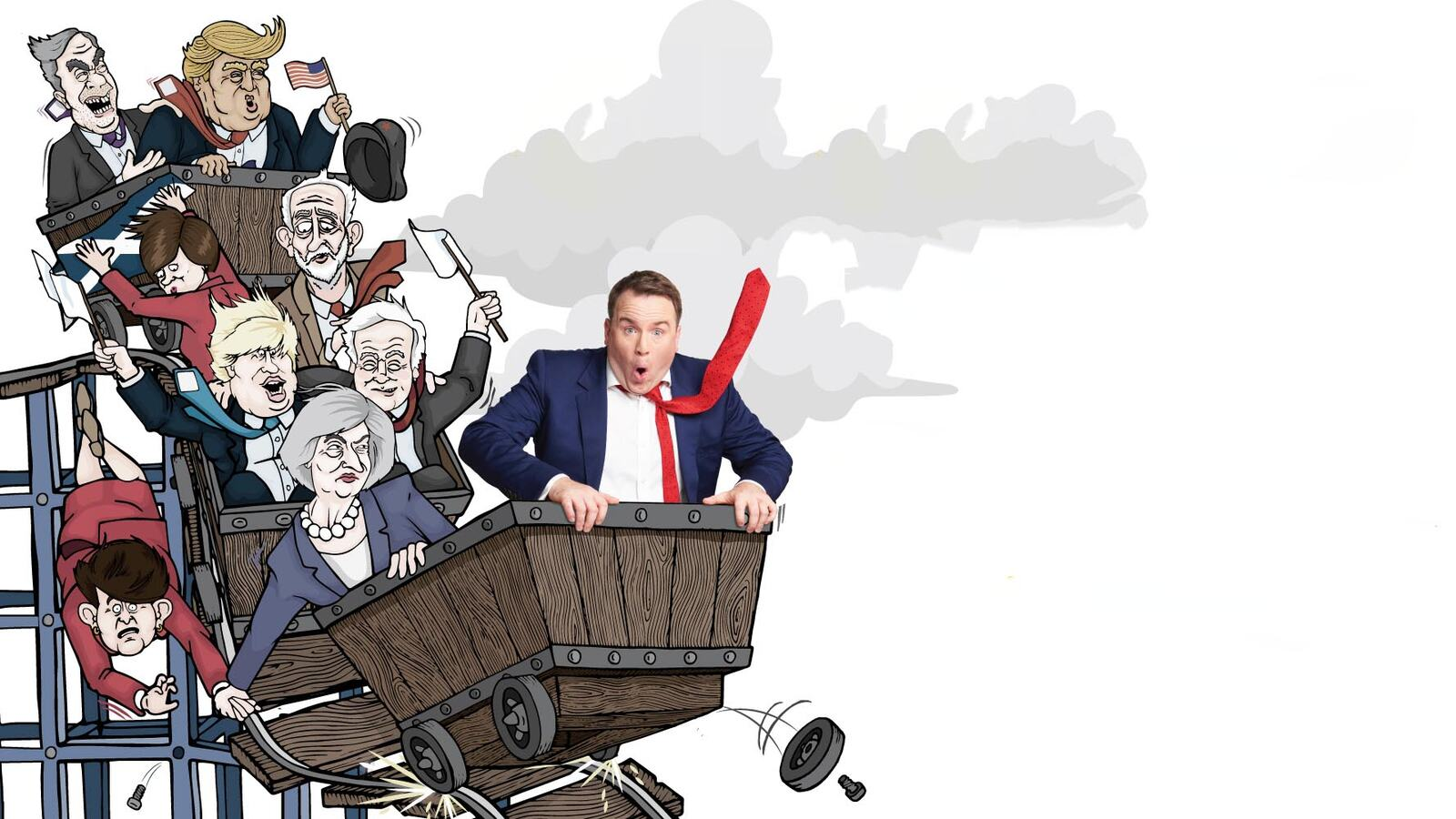 Illustration of Matt Forde riding a rollercoaster with political figures