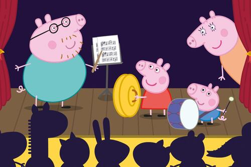 Peppa Pig and family performing on stage