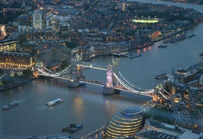 Skyline shot of Tower Bridge