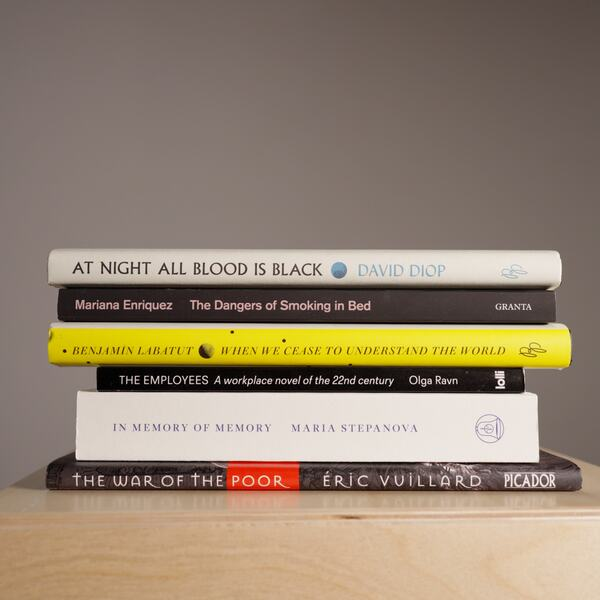 An image of the books shortlisted for this year's International Booker Prize.