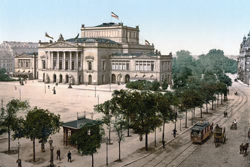 Vintage depiction of the former Leipzig Opera House