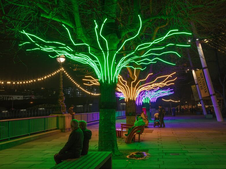 Light display on trees around the Southbank Centre