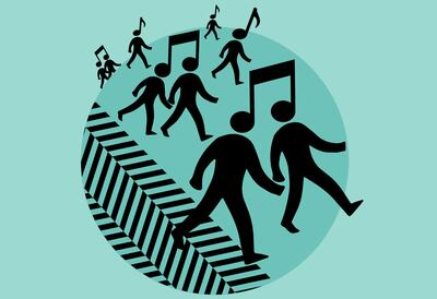 Graphic of figures walking and music notes