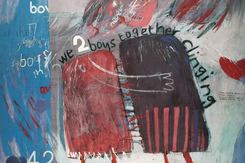 David Hockney We Two Boys Together Clinging, 1961 Oil on board Arts Council Collection, Southbank Centre, London © David Hockney.