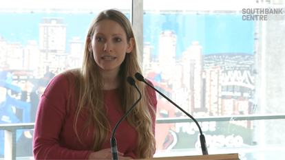 Still from video of Laura Bates speaking at Yoko Ono's Meltdown, Southbank Centre 2013