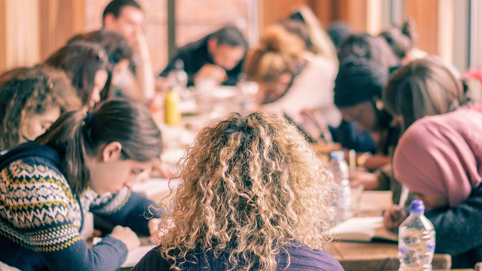 Workshop participants sat at a table