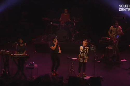 Still from video of Cibo Matto performing at Yoko Ono's Meltdown, Southbank Centre, 2013
