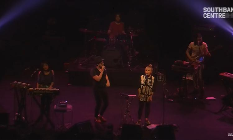 Still from video of Cibo Matto performing at Yoko Ono's Meltdown, Southbank Centre, 2013