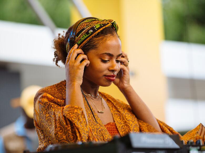Female DJ on the Riverside Terrace