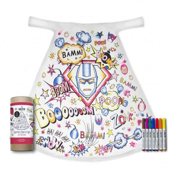 Superhero Colour-in Cape with pens and crayons