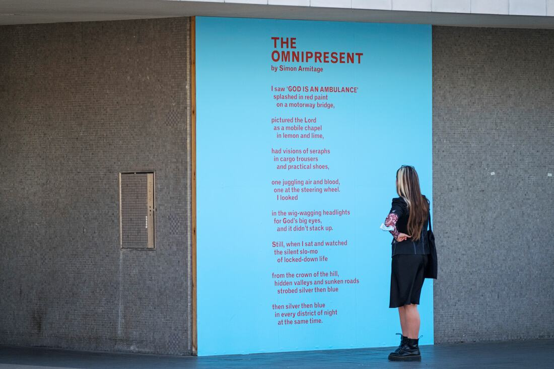 Everyday Heroes: Installation view of Simon Armitage's 'Omnipresent' at Southbank Centre's Everyday Heroes, on until 7 November 2020. Copyright the artist. Photo credit_ Linda Nylind (1)