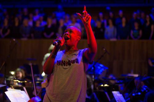 Singer performing during Sandi Toksvig's Mirth Control at WOW 2018