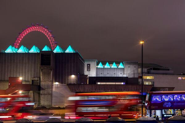 David Batchelor's Sixty Minute Spectrum installation at Hayward Gallery viewed from across Waterloo Bridge