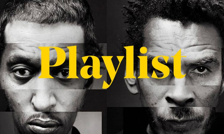 Graphic for Playlist of artists from Massive Attack's Meltdown festival, featuring Massive Attack and the word playlist