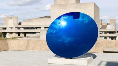 Anish Kapoor's Sky Mirror, Blue (2016), installed at Hayward Gallery as part of the 2018 exhibition Space Shifters