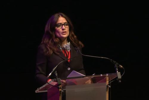 A still from the video of Salma Hayek Pinault speaking at WOW 2015
