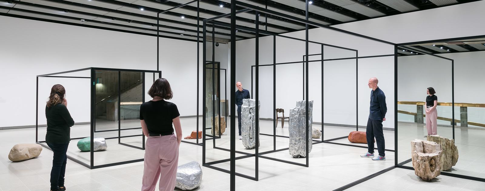 Installation view of Alicja Kwade's WeltenLinie, 2017 at Space Shifters, Hayward Gallery 2018
