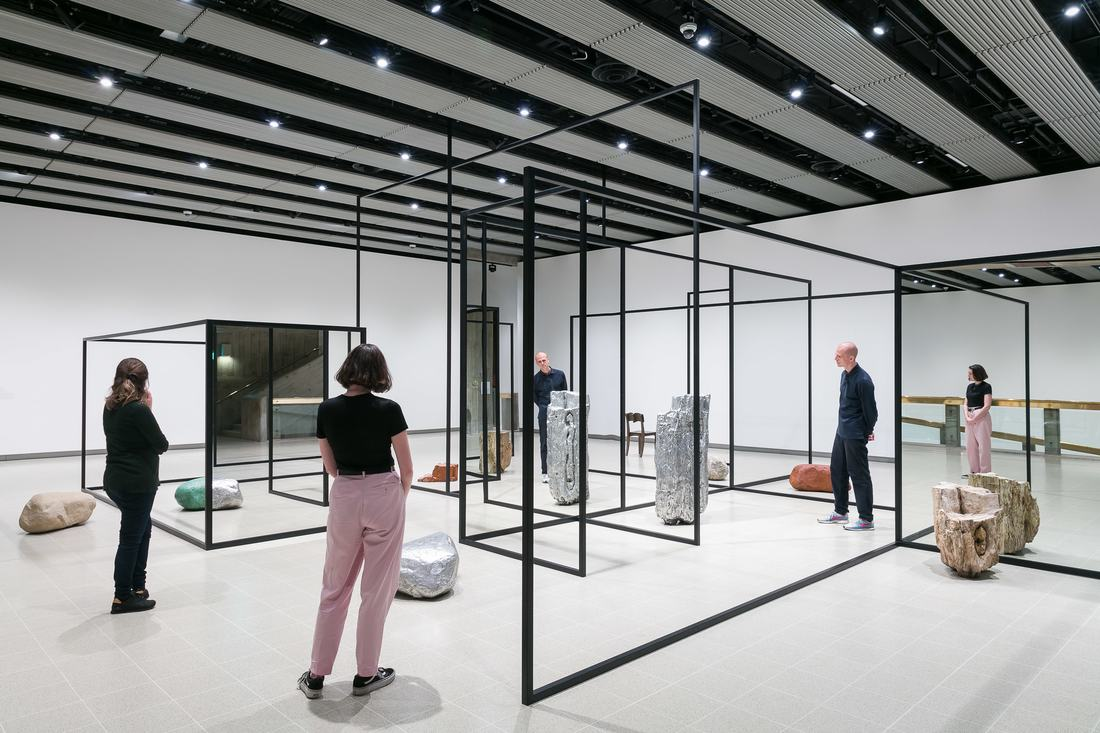 Installation view of Alicja Kwade's WeltenLinie, 2017 at Space Shifters, Hayward Gallery 2018. Photo: Mark Blower
